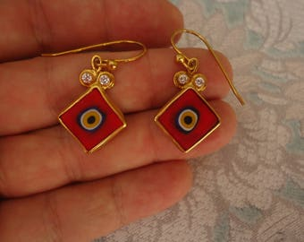 Vintage Gold Over Sterling Earrings w/ Red Millefiori Diamond Shape Bead and Clear CZ Stones, Pierced Wire