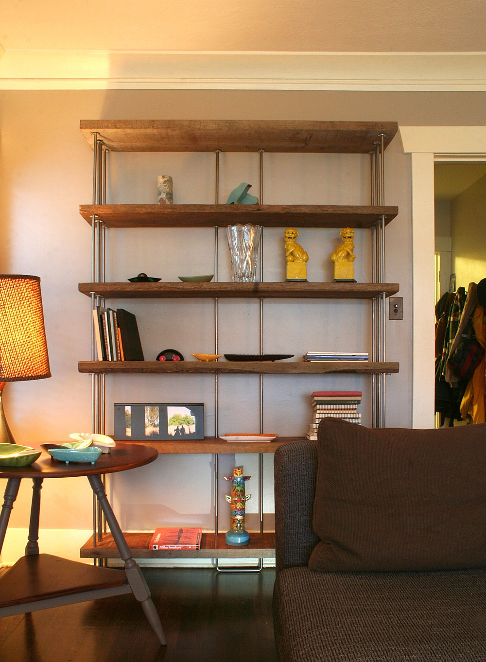 Book Shelf From Reclaimed Wood And Recycled Steel Bookcase