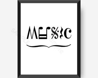 Music Art | Music Note Art | Music wall art | Music Note Art Print | Black and White Art | Notation Art | Music Gift |Printable artwork,8x10