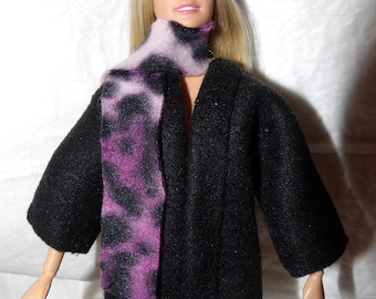 Short Fleece coat in solid black with a purple Leopard print scarf for Fashion Dolls - ed1005