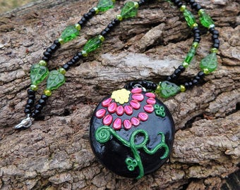 Floral Embroidery Filigree Clay Coated Locket with Hidden Spring Scene OOAK