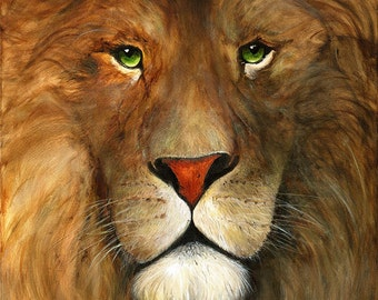 A3 Fine Art Print of 'Aslan, Aslan. Dear Aslan' - from an original acrylic painting by Karen Lindsay