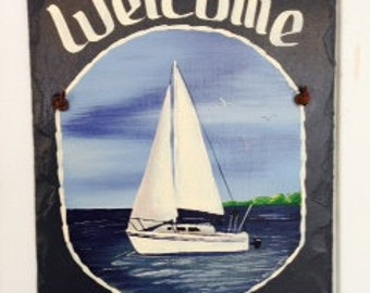 """Handpainted 7"""" X 12"""" Personalized Sailboat  Nautical Slate Welcome Sign"""