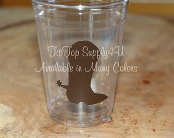 24 Cowboy boot Cowgirl boot clear 10 oz. 12 oz. or 16 oz. disposable cup. Western, Birthday Party, boot, Gender Reveal, Baby Shower B-210