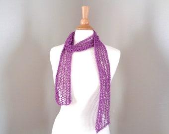 Skinny Scarf, Berry Purple, Summer Fashion, Sheer Mesh Lace, Hand Knit, Cotton Blend, Thin Knit Scarf, Women Teen Girls