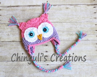 Crochet Owl Hat, Baby Pink and Purple Owl Beanie For Girls Owl Pink Purple Turquoise Owl Hat Newborn Baby Owl Hat Toddler Owl Hat