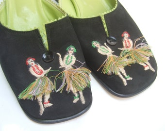 Whimsical Hula Dancer Black Suede Slippers Shoes Made in Italy US Size 7 B