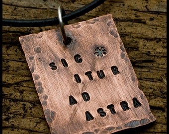 Sic Itur ad Astra - sterling silver and copper hand-hammered pendant necklace