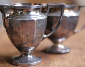 Lovely Set of Vintage Silver Creamer and Sugar Bowl