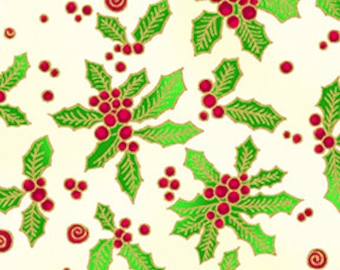 Holly Fabric, Christmas Fabric, Laurel Burch Fabric - Enchantment Holly Sprigs - Clothworks - 1964 57M Cream - Priced by the Half Yard