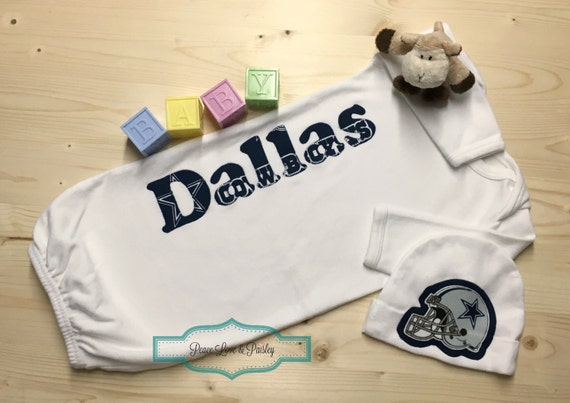 Personalized baby boy gown and hat set dallas cowboys baby negle Choice Image