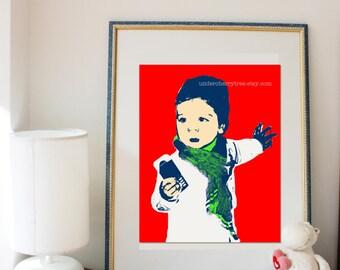 personalised pop art portrait. Pop Art inspired portrait for your child. Custom made. Digital file.