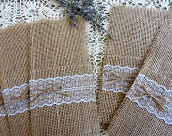 Burlap Silverware Holders, Country Table Decor, Burlap and Lace Utensil Holder Rustic Wedding Table Decor Wedding Table Set Table Decoration