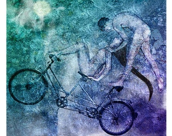 XXL large giclee print about love - Tandem Bike Lucid Mutual Dreaming by Ina Mar (Twin souls art). Housewarming gift for new couple