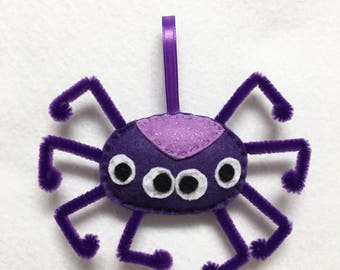 Spider Ornament, Halloween Ornament, Claire the Spider, Felt Gift Topper, Spooky Home Decoration