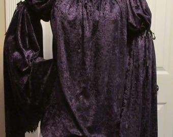 DDNJ NEW Choose Color and Sleeve Style Velvet Chemise Plus Custom Made ANY Size Pirate Medieval Wench Costume Nightgown Victorian