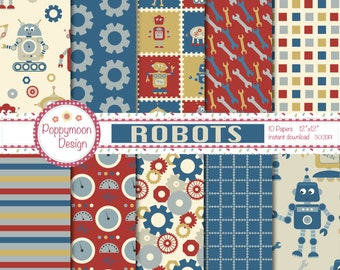 Robot friends, robot doggy,bolts and coils,pattern backgrounds, digital paper pack