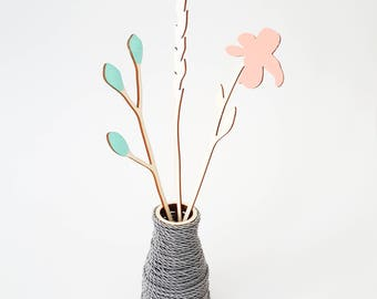 ALIZI.SPRING - wooden flowers - N.3 / meadow flowers / plywood flowers / cute flowers / wood decoration / modern decoration