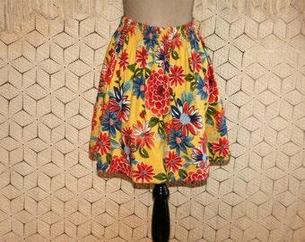 Colorful Floral Skirt Full Skirt Mini Skirt Cotton Boho Skirt Small Twirl Skirt Yellow Blue Orange Flower Print Boho Clothing Women Clothing
