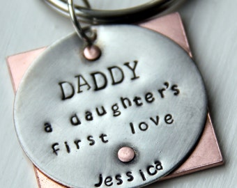 Daddy Gift From Daughter - Daddy Valentine - Daddy's Girl Keychain - Fathers Day Gift From Wife - Valentines gift for Daddy - First Hero