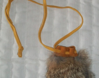 Handcrafted Genuine Rabbit fur coin bag small sized