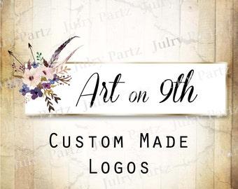 LOGO in Purple Posie ART•Premade Logo•Jewelry Card Logo•Flower Logo•Custom Logo•Shop Logo