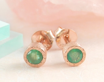 Emerald Studs, Rose Gold Studs, Gemstone Earrings, Emerald Earrings, Real Gemstone, Green Earrings, Round Earrings, Boho Earrings, Gold Stud