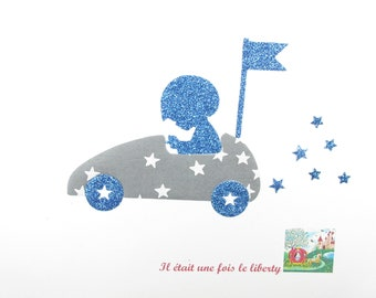 Applied fusible boy and glittery star gray fabric & flex car car pattern applied fusible iron-on patch
