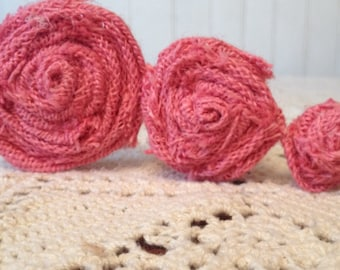 Pink Burlap Flower On A Bendable Stem
