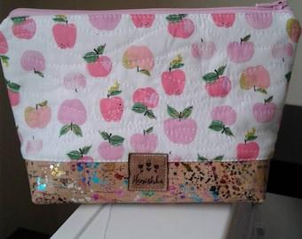 Rainbow Cork bottom Heather Ross fabric pouch. Kinder fabric. Heather Ross Apples.
