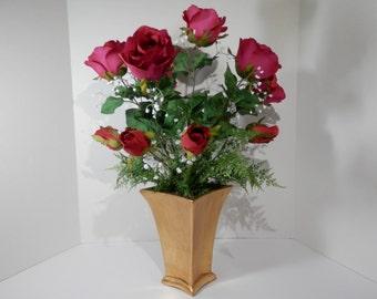 "21"" Tall Dozen Roses Centerpiece Long Stem Red Silk Flower Gold Leaf Ceramic Vase Wedding Birthday Anniversary Dining Table Mantel Gift Idea"