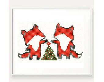 Fox Cross Stitch Pattern, Christmas Cross Stitch, Cute Fox Pattern, Embroidery, Instant download, PDF, DIY