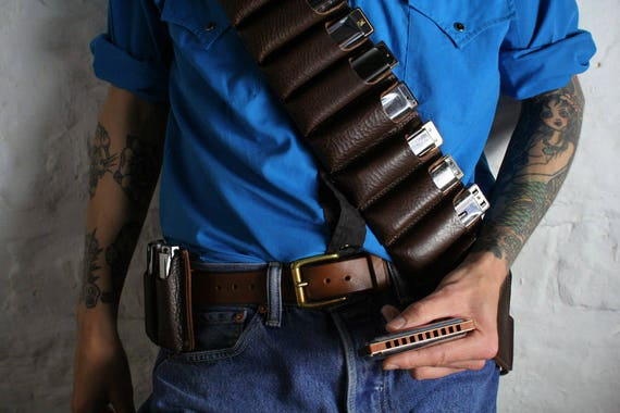 Leather Harmonica Bandolier