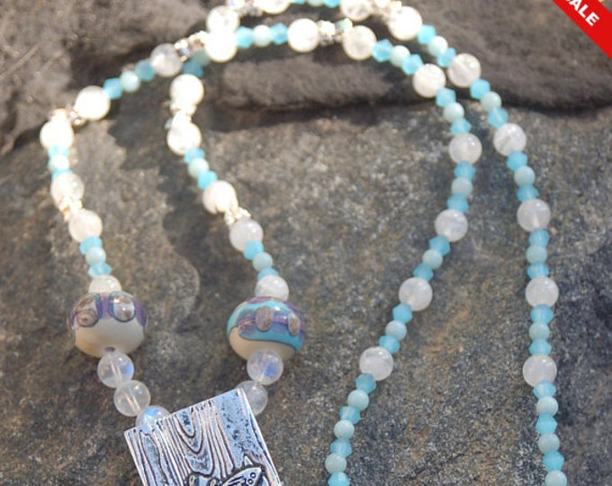 "Featured listing image: Sale -  Butterfly Moonstone and Amazonite Necklace, Butterfly Necklace,""Butterfly Effect"""