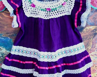 Baby Mexican dress, Violet, Purple Mexican dress, Fiesta, Pinata party, size 1