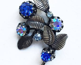 vintage gun metal gray and blue rhinestone floral bouquet brooch
