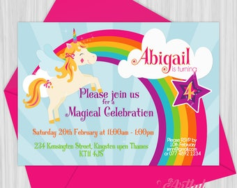 Printable Magical Rainbow Unicorn Party Invitation  |  Personalized