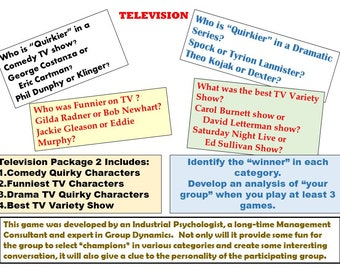 TV Baby Boomer Millennial Tournament Game:  Quirky and Funniest Characters, Best Variety Show