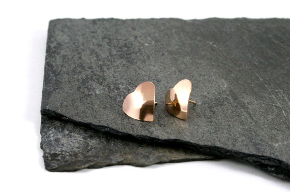 14K Yellow Gold Fill Heart Stud Earrings