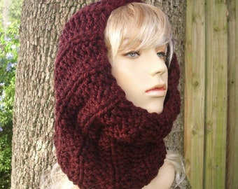 Knit Cowl Scarf - Twilight Cowl in Oxblood Red Wine - Red Scarf Wine Scarf Red Cowl Wine Cowl Merlot Cowl Oxblood Cowl Womens Accessories
