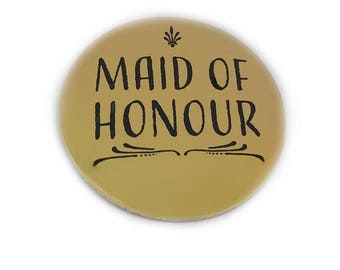 Maid of Honour Button Bridal Party Buttons Bride Brides Maid Bachelorette Party Bridal Shower Shiny Metallic Gold