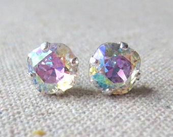 Swarovski Crystal Iridescent Post Earrings Cushion Cut Square Earrings Bridal Jewelry Wedding Earrings Bridesmaids Gifts