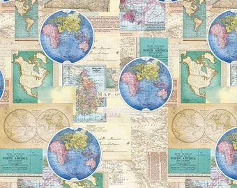 Map Fabric: Map of the world- Vintage Cartography Global Map Premium by David Textiles 100% cotton Fabric by the yard (DA37)