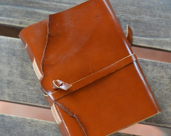 """Leather Journal, handmade, 5X7"""", Rustic, LINED or plain"""