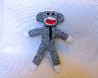 Sonny the Green Sock Monkey 16 inches by monSOCKeys, Handmade Red Heel Sock Monkey, Stuffed Monkey, Toy, Novelty Gift, Green Monkey, Doll