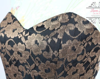 Vintage Lacy Black & Gold Prom Dress Size S