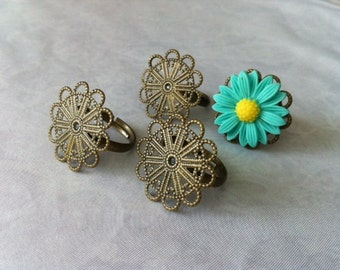Ship from USA...  6 pcs Adjustable Ring / Filigree Ring Component,,,,,,Antique Bronze finding.ring blank,.perfect for  cabochon