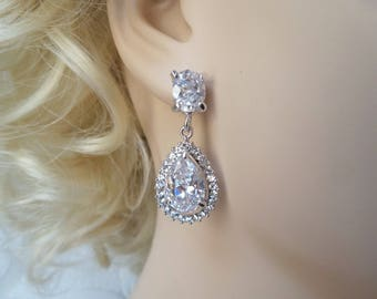 Vintage Glam Bridal Halo Pierced or Clipon Earrings with Swarovski Crystal for 1920s Wedding Chandeliers or Victorian Prom Jewelry