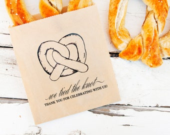 Wedding Favor Pretzel Bags - Kraft Thank You Soft Pretzel Bag - Budget Wedding  - 20 Bags