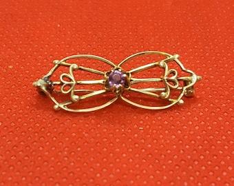 Antique Victorian Gold & Amethyst Brooch Circa 1800s
